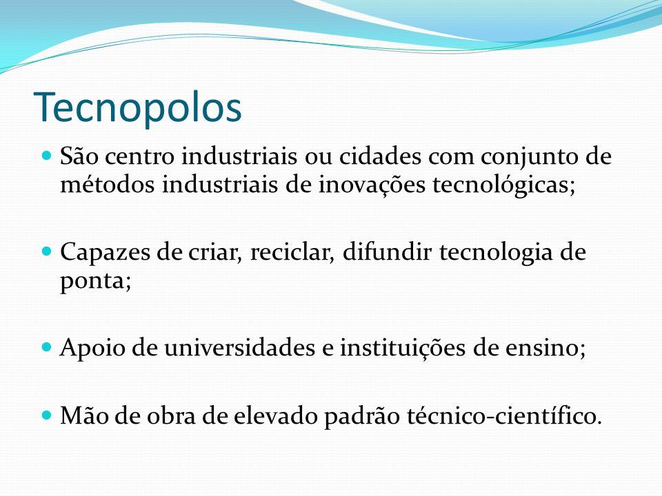 Tecnopolos São centro industriais ou cidades com conjunto de métodos industriais de inovações tecnológicas;
