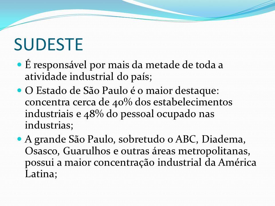 SUDESTE É responsável por mais da metade de toda a atividade industrial do país;