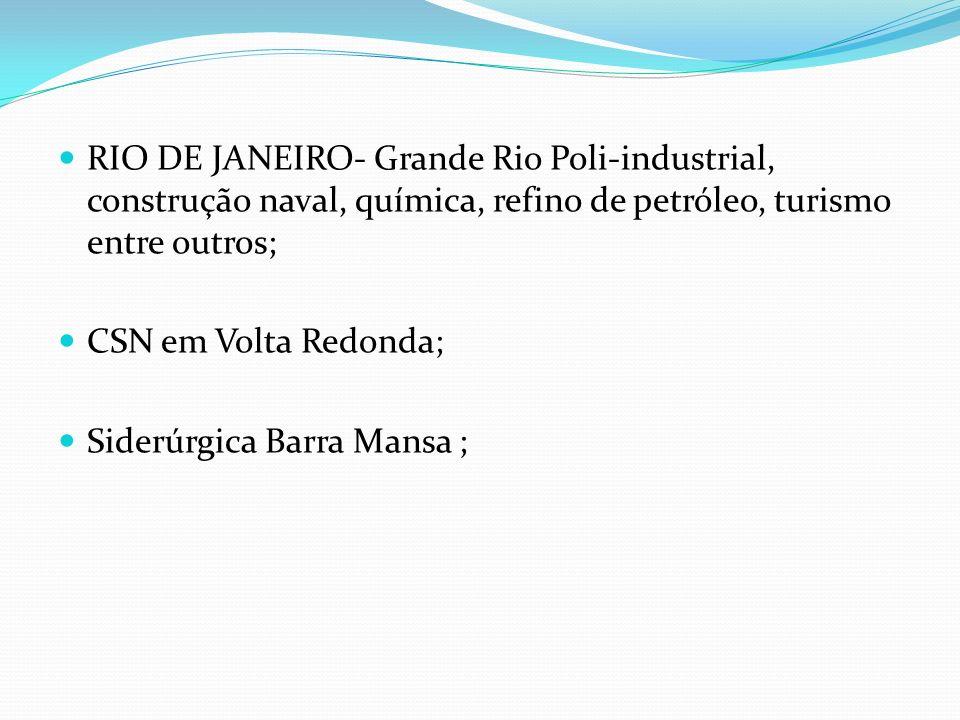 RIO DE JANEIRO- Grande Rio Poli-industrial, construção naval, química, refino de petróleo, turismo entre outros;