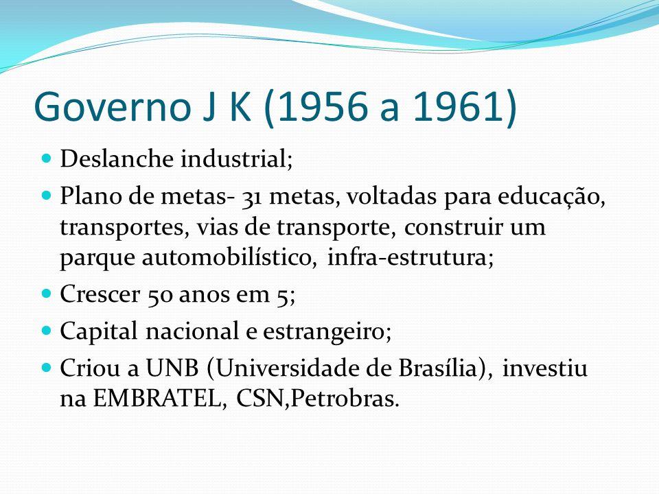 Governo J K (1956 a 1961) Deslanche industrial;