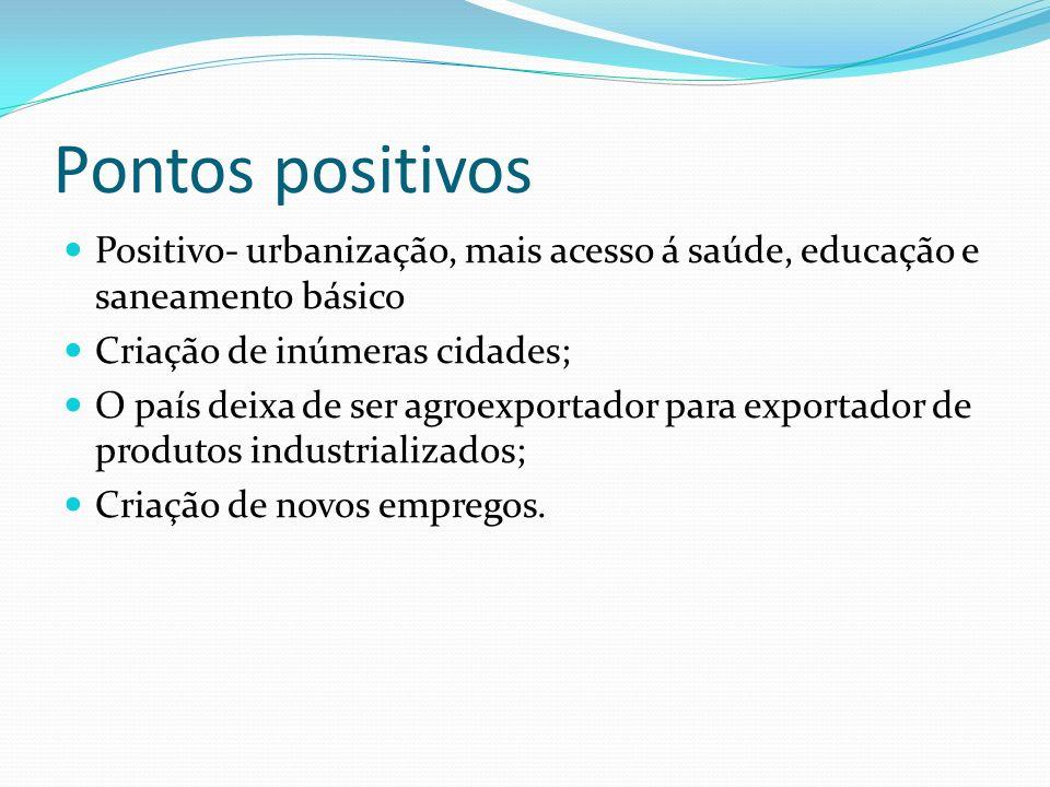 Pontos positivos Positivo- urbanização, mais acesso á saúde, educação e saneamento básico. Criação de inúmeras cidades;
