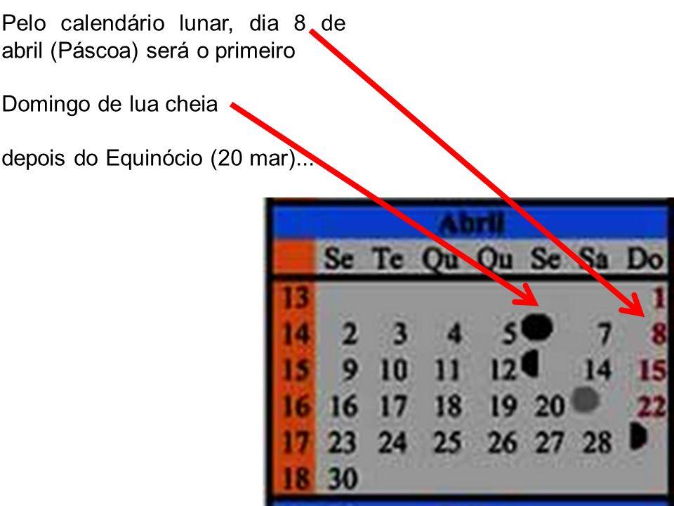 Pelo calendário lunar, dia 8 de abril (Páscoa) será o primeiro