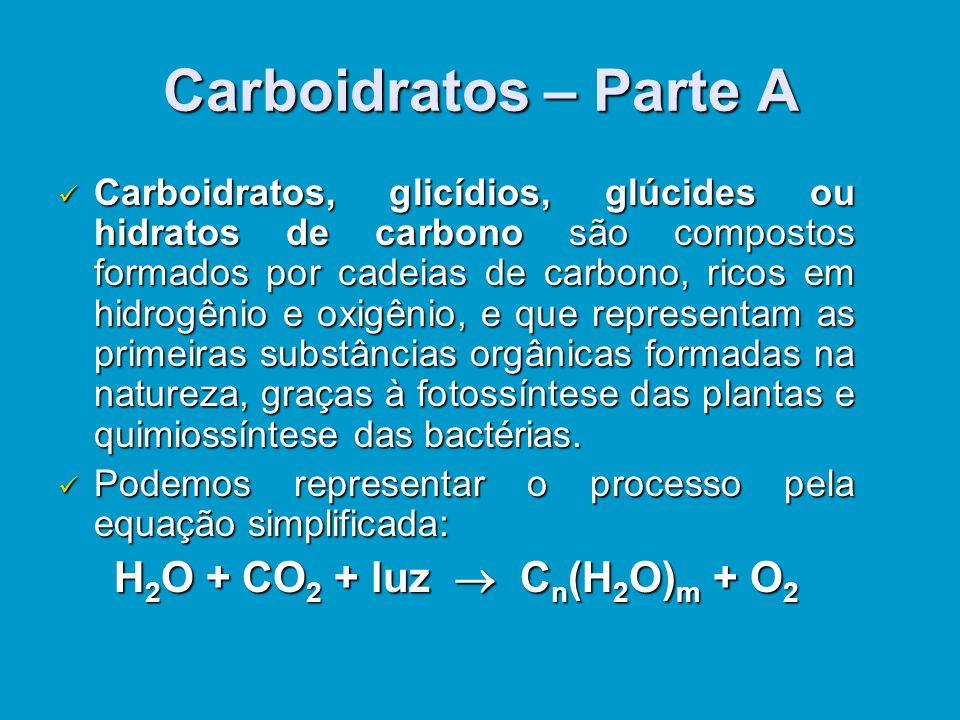 Carboidratos – Parte A H2O + CO2 + luz  Cn(H2O)m + O2