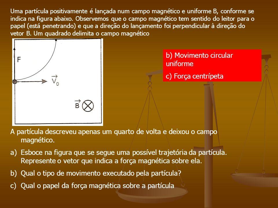 b) Movimento circular uniforme c) Força centrípeta F