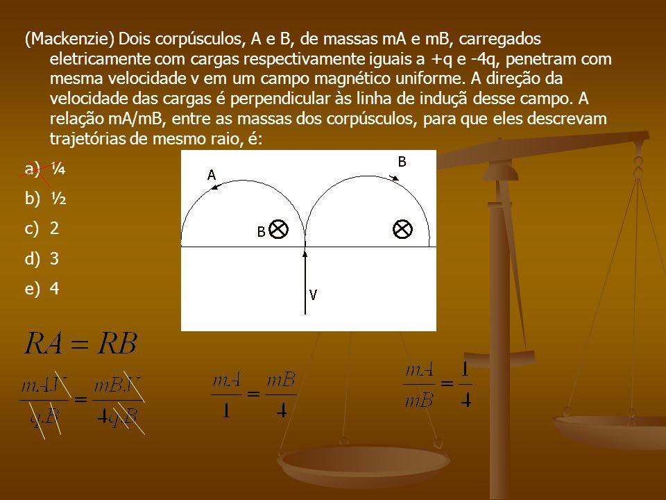 (Mackenzie) Dois corpúsculos, A e B, de massas mA e mB, carregados eletricamente com cargas respectivamente iguais a +q e -4q, penetram com mesma velocidade v em um campo magnético uniforme. A direção da velocidade das cargas é perpendicular às linha de induçã desse campo. A relação mA/mB, entre as massas dos corpúsculos, para que eles descrevam trajetórias de mesmo raio, é: