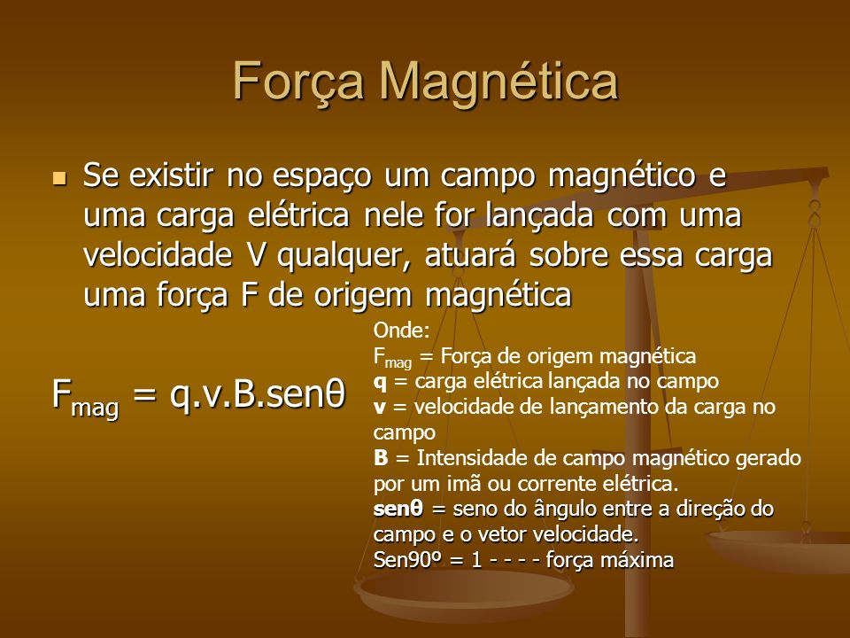 Força Magnética Fmag = q.v.B.senθ