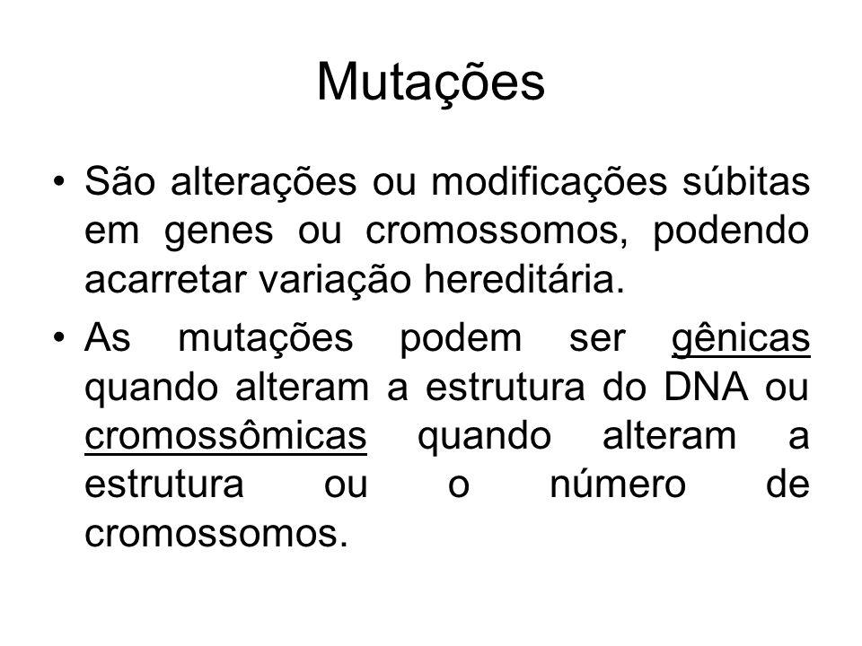 MutaçõesSão alterações ou modificações súbitas em genes ou cromossomos, podendo acarretar variação hereditária.