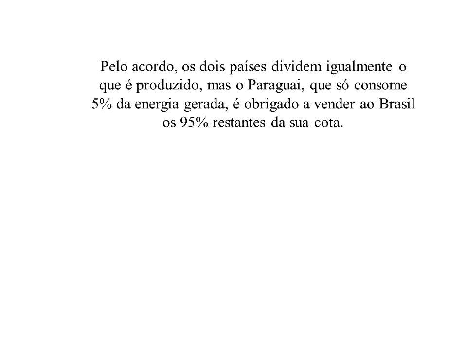Pelo acordo, os dois países dividem igualmente o que é produzido, mas o Paraguai, que só consome 5% da energia gerada, é obrigado a vender ao Brasil os 95% restantes da sua cota.