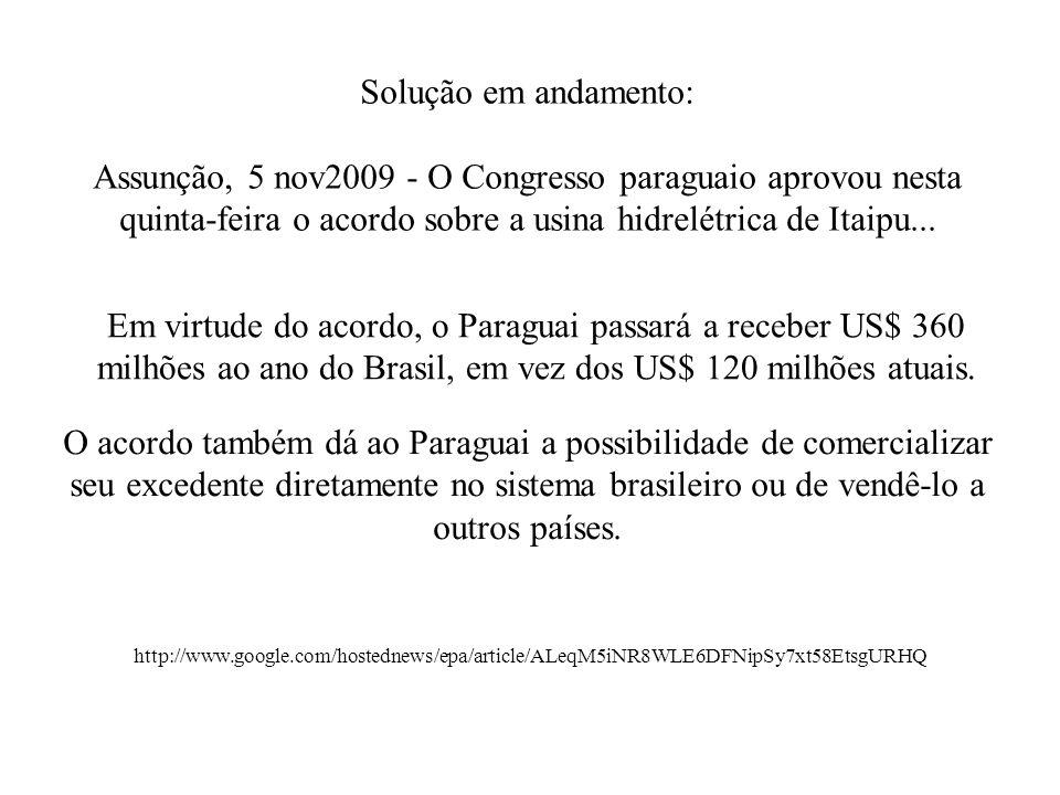 Solução em andamento: Assunção, 5 nov2009 - O Congresso paraguaio aprovou nesta quinta-feira o acordo sobre a usina hidrelétrica de Itaipu...