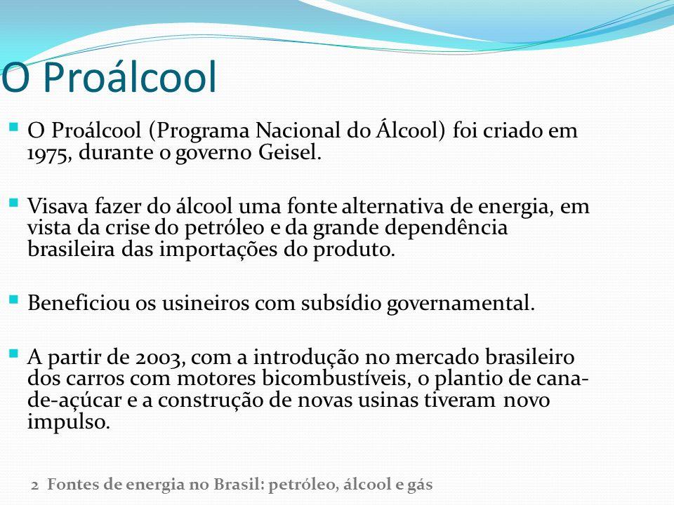 O Proálcool O Proálcool (Programa Nacional do Álcool) foi criado em 1975, durante o governo Geisel.