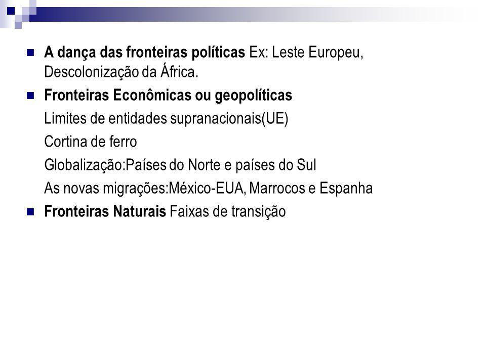 A dança das fronteiras políticas Ex: Leste Europeu, Descolonização da África.