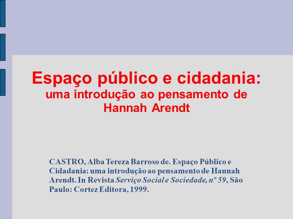 Espaço público e cidadania: uma introdução ao pensamento de Hannah Arendt
