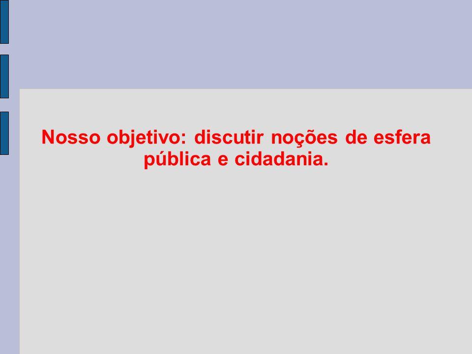 Nosso objetivo: discutir noções de esfera pública e cidadania.