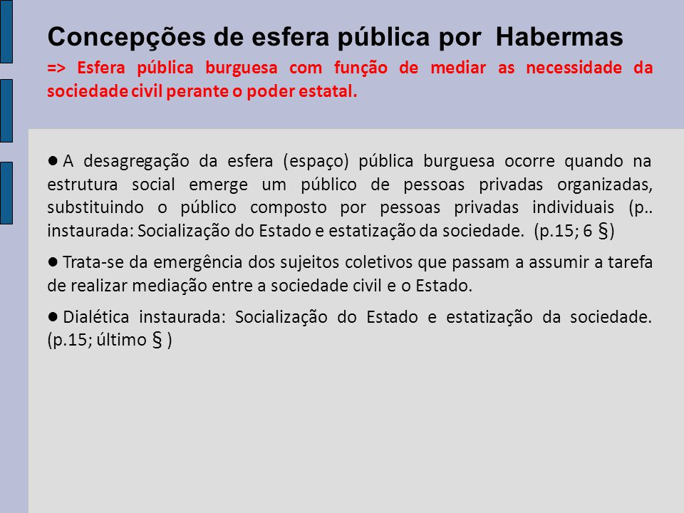 Concepções de esfera pública por Habermas