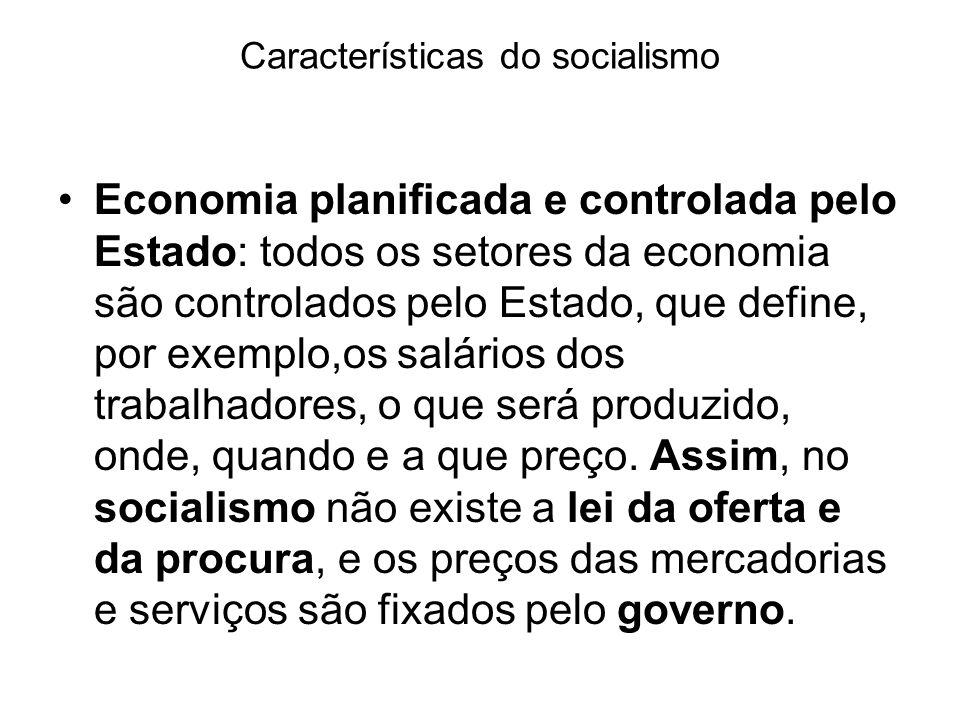 Características do socialismo