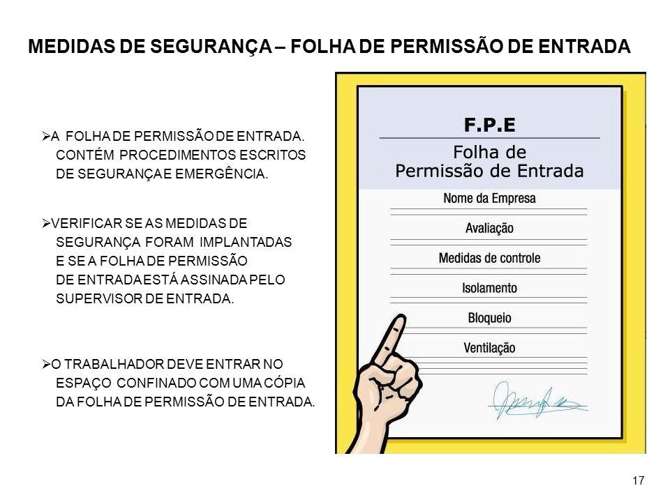 MEDIDAS DE SEGURANÇA – FOLHA DE PERMISSÃO DE ENTRADA