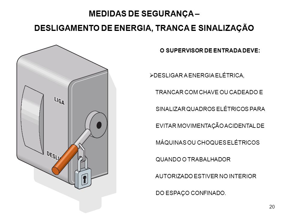 MEDIDAS DE SEGURANÇA – DESLIGAMENTO DE ENERGIA, TRANCA E SINALIZAÇÃO