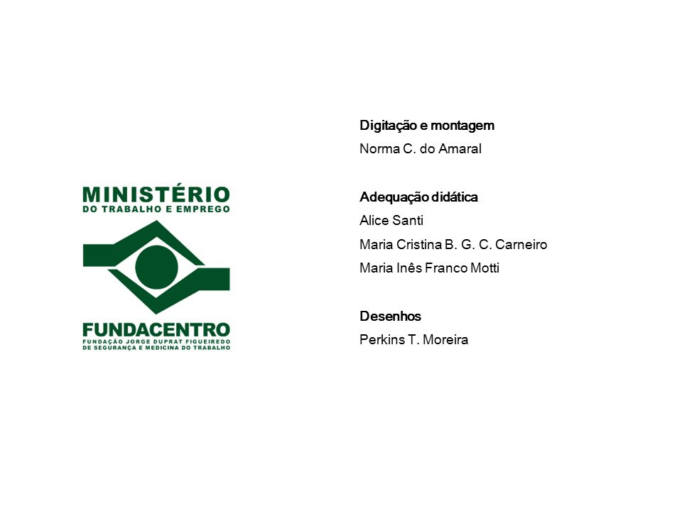 Digitação e montagem Norma C. do Amaral. Adequação didática. Alice Santi. Maria Cristina B. G. C. Carneiro.