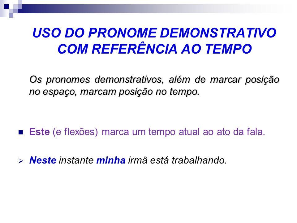 USO DO PRONOME DEMONSTRATIVO COM REFERÊNCIA AO TEMPO
