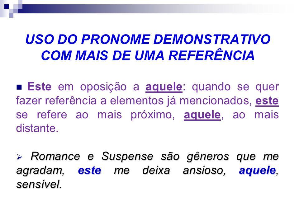 USO DO PRONOME DEMONSTRATIVO COM MAIS DE UMA REFERÊNCIA