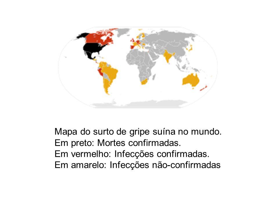 Mapa do surto de gripe suína no mundo. Em preto: Mortes confirmadas