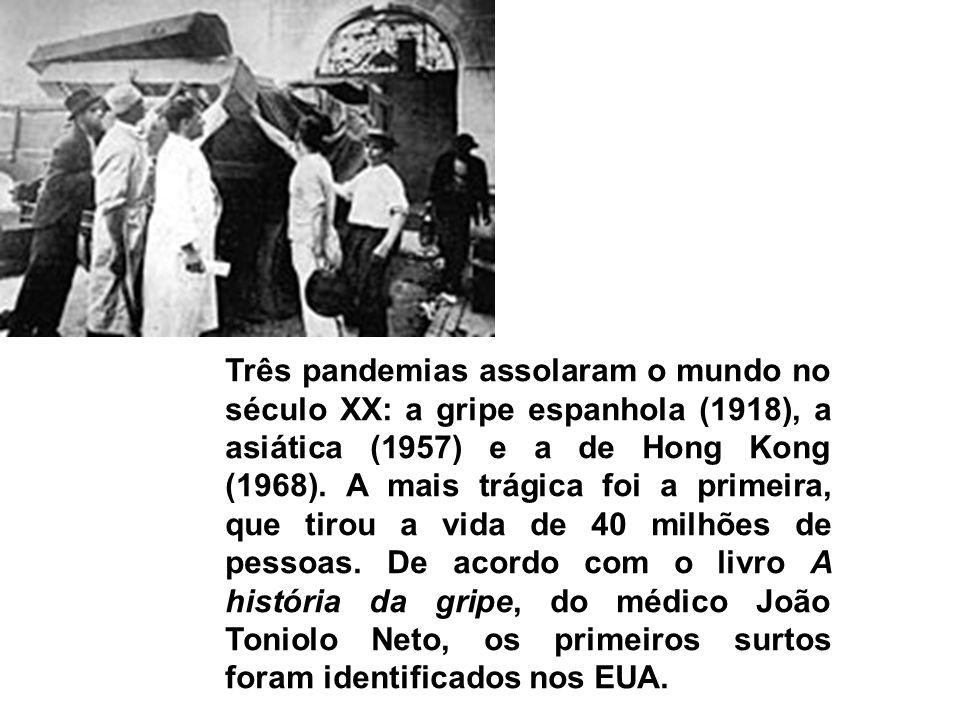 Três pandemias assolaram o mundo no século XX: a gripe espanhola (1918), a asiática (1957) e a de Hong Kong (1968).