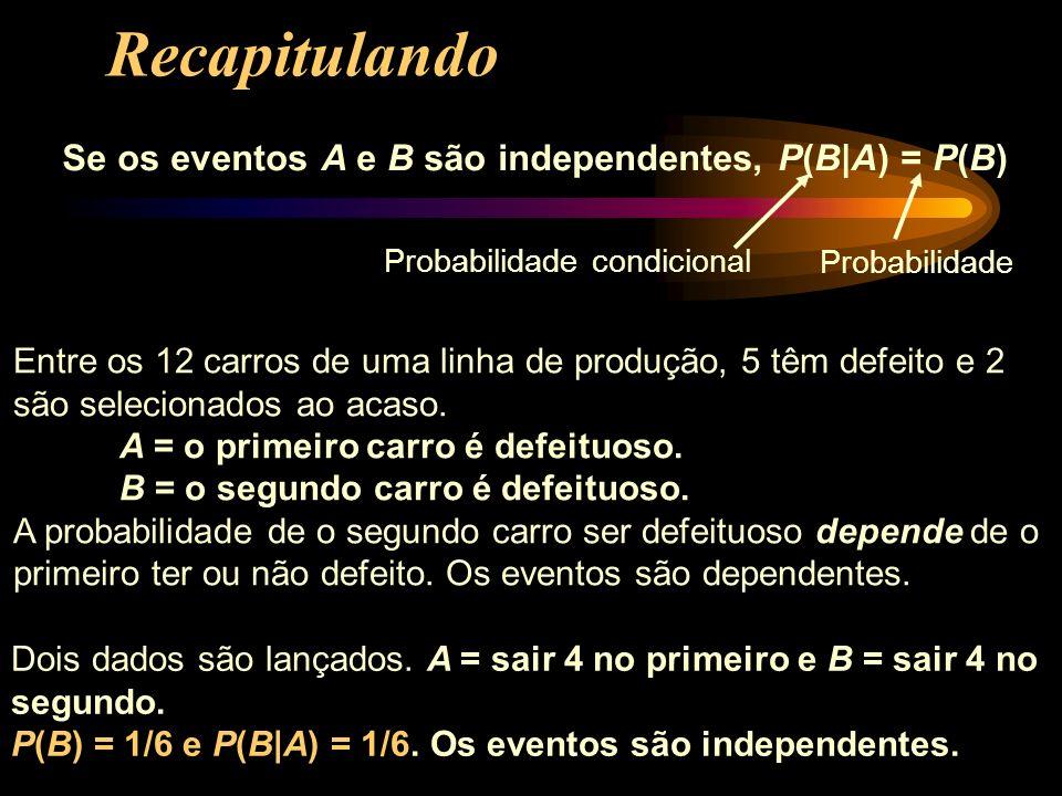 Recapitulando Se os eventos A e B são independentes, P(B|A) = P(B)