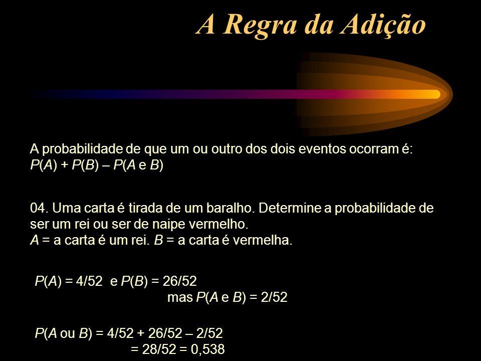 A Regra da Adição A probabilidade de que um ou outro dos dois eventos ocorram é: P(A) + P(B) – P(A e B)