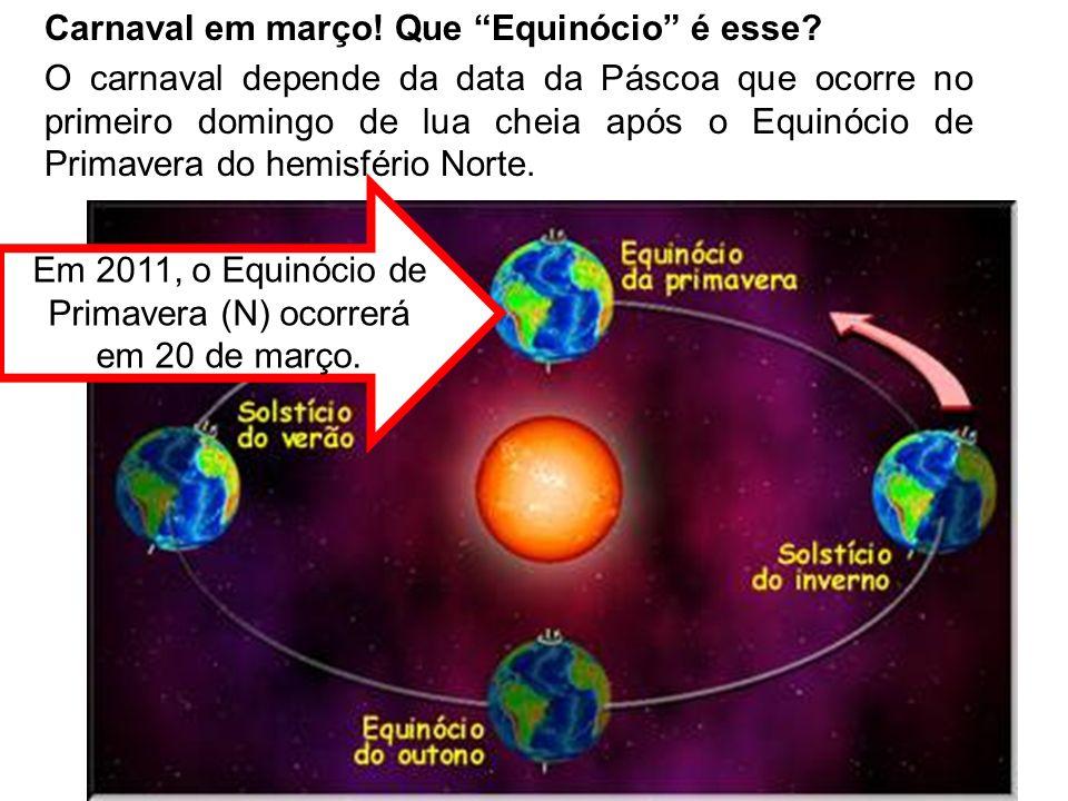 Em 2011, o Equinócio de Primavera (N) ocorrerá em 20 de março.
