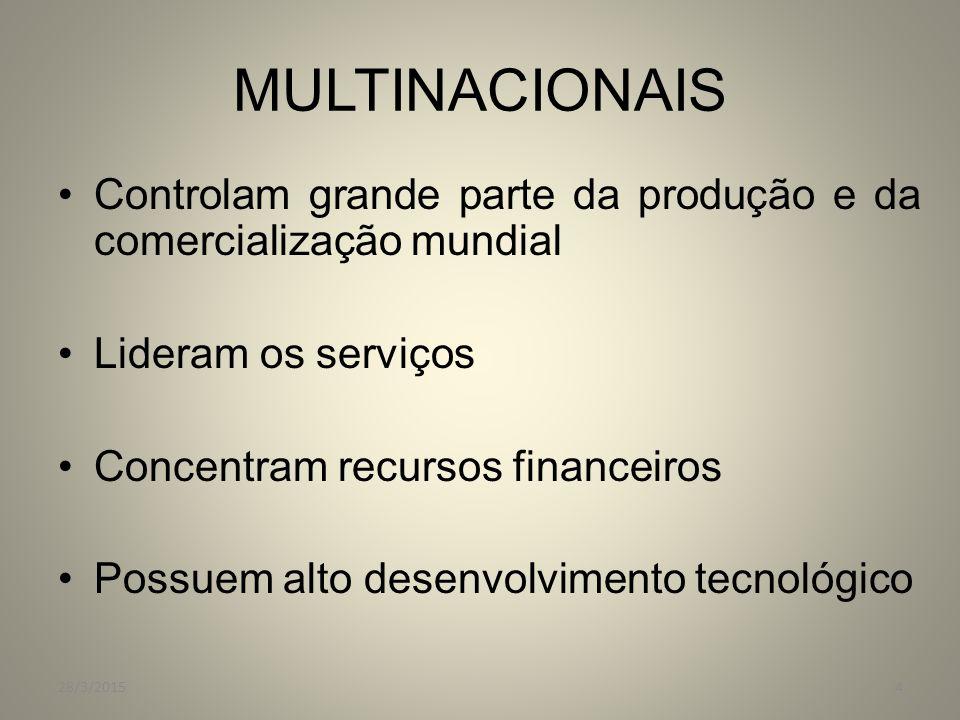 MULTINACIONAIS Controlam grande parte da produção e da comercialização mundial. Lideram os serviços.