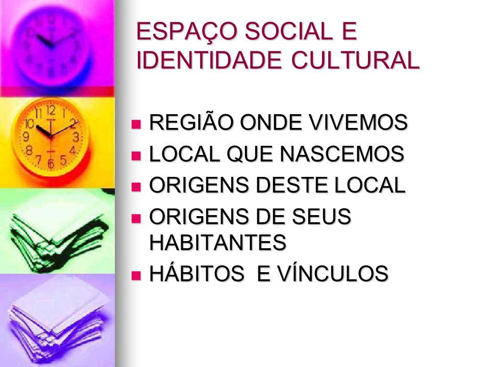 ESPAÇO SOCIAL E IDENTIDADE CULTURAL