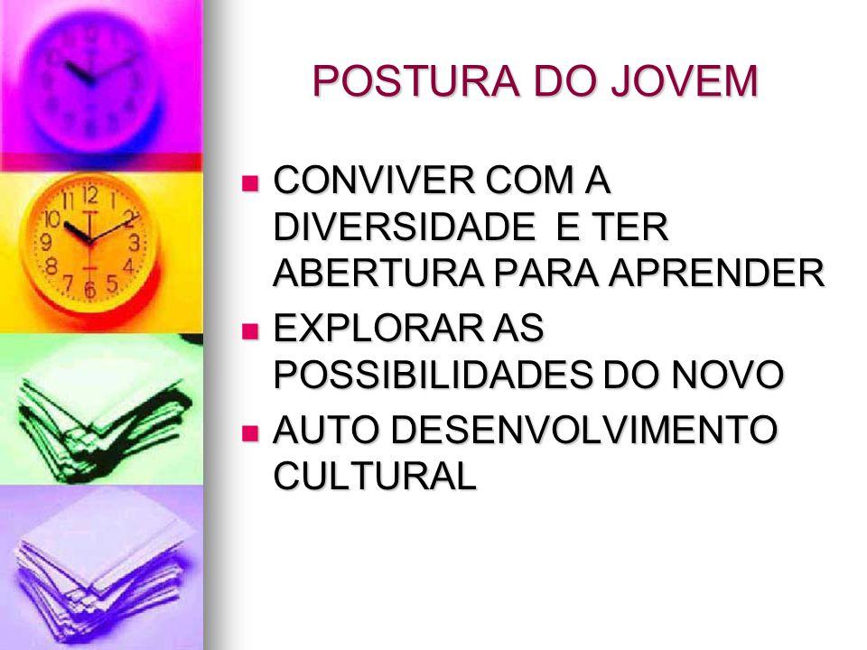 POSTURA DO JOVEM CONVIVER COM A DIVERSIDADE E TER ABERTURA PARA APRENDER. EXPLORAR AS POSSIBILIDADES DO NOVO.