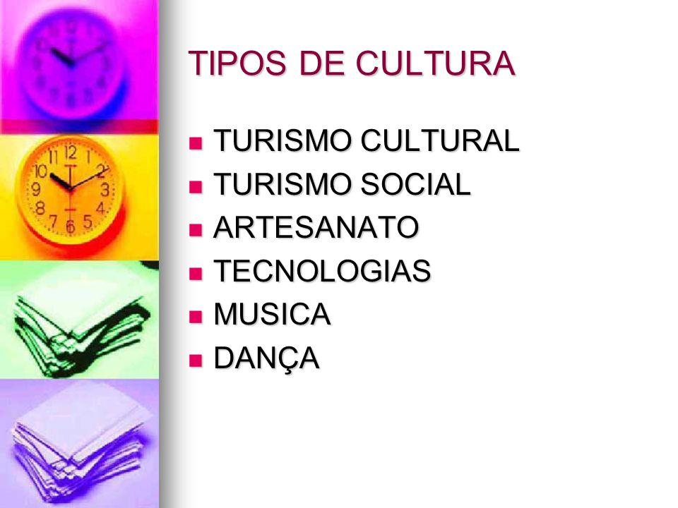 TIPOS DE CULTURA TURISMO CULTURAL TURISMO SOCIAL ARTESANATO