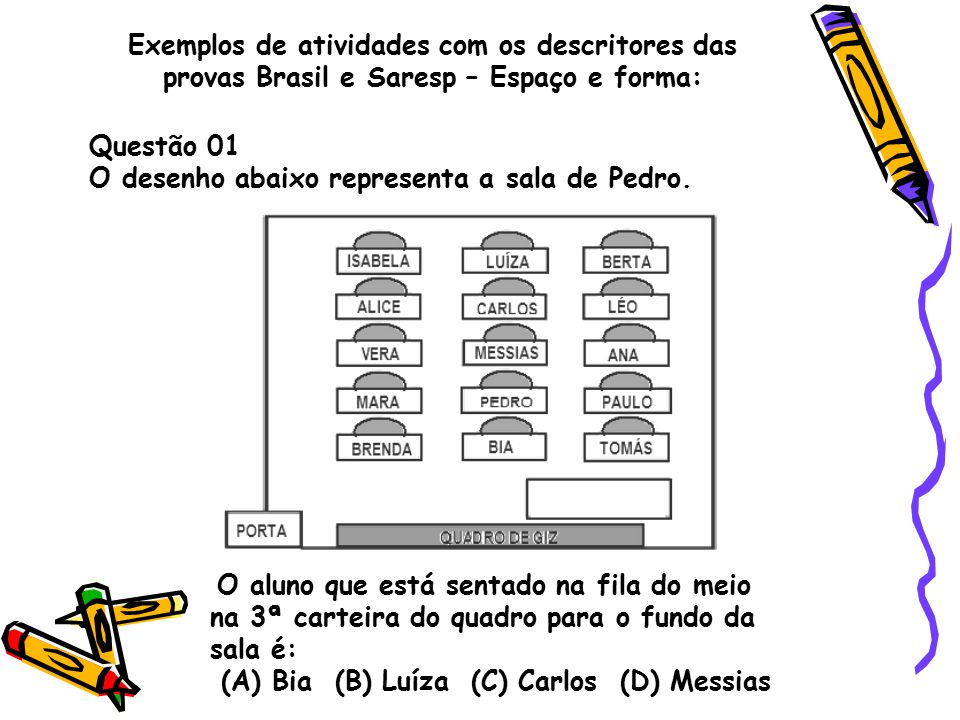 O desenho abaixo representa a sala de Pedro.