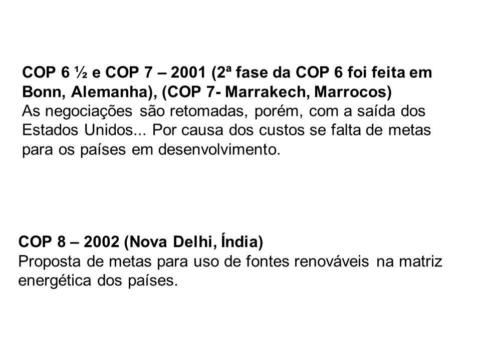 COP 6 ½ e COP 7 – 2001 (2ª fase da COP 6 foi feita em Bonn, Alemanha), (COP 7- Marrakech, Marrocos) As negociações são retomadas, porém, com a saída dos Estados Unidos... Por causa dos custos se falta de metas para os países em desenvolvimento.