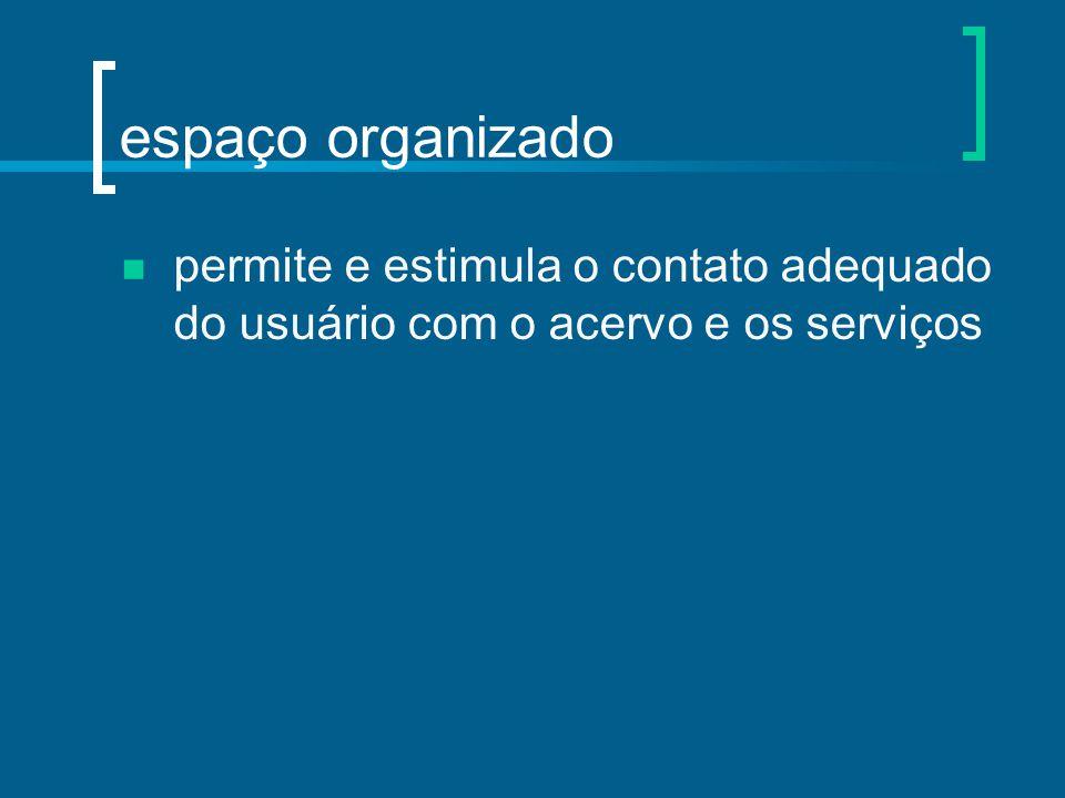 espaço organizado permite e estimula o contato adequado do usuário com o acervo e os serviços