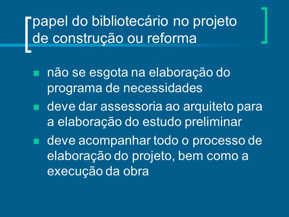 papel do bibliotecário no projeto de construção ou reforma