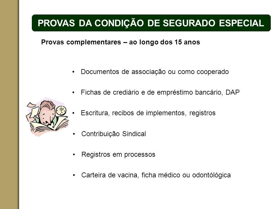 PROVAS DA CONDIÇÃO DE SEGURADO ESPECIAL