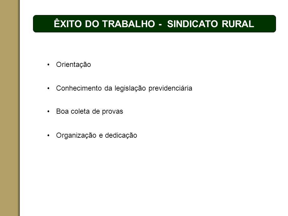 ÊXITO DO TRABALHO - SINDICATO RURAL