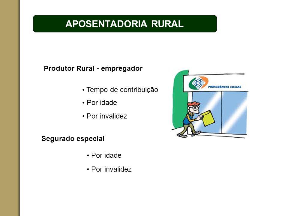 APOSENTADORIA RURAL Produtor Rural - empregador Tempo de contribuição