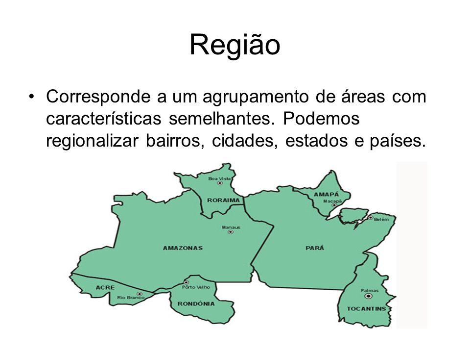 Região Corresponde a um agrupamento de áreas com características semelhantes.