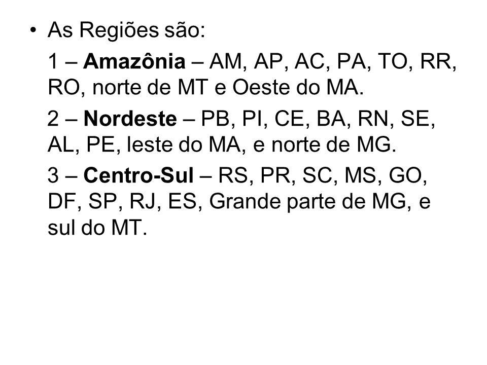 As Regiões são:1 – Amazônia – AM, AP, AC, PA, TO, RR, RO, norte de MT e Oeste do MA.