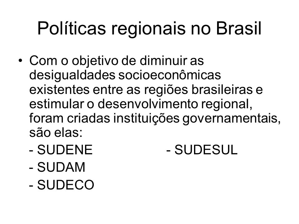 Políticas regionais no Brasil