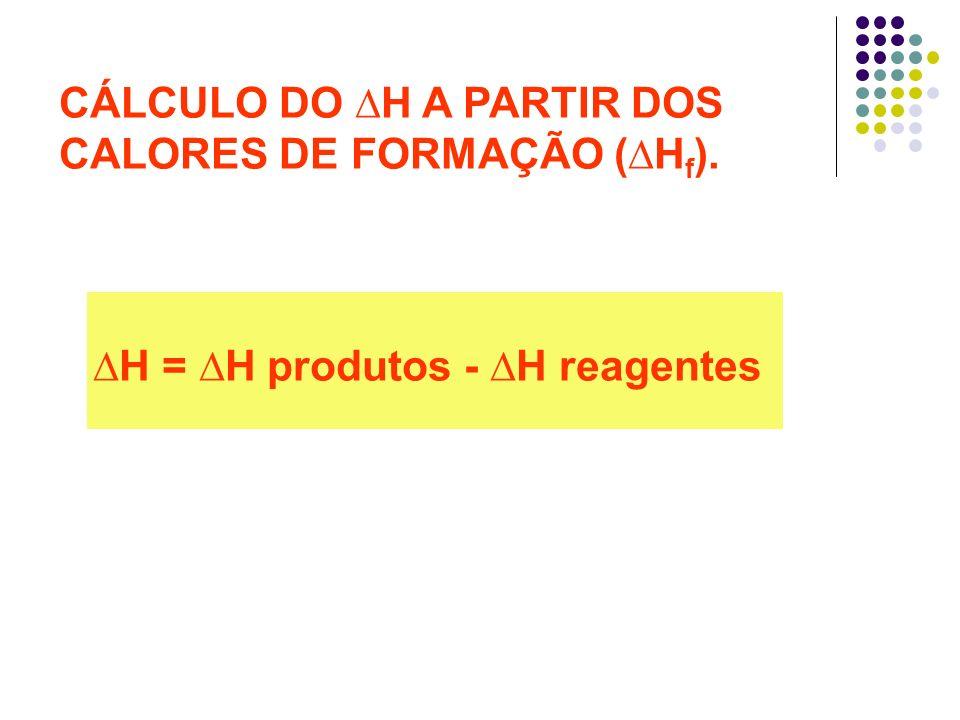 ∆H = ∆H produtos - ∆H reagentes