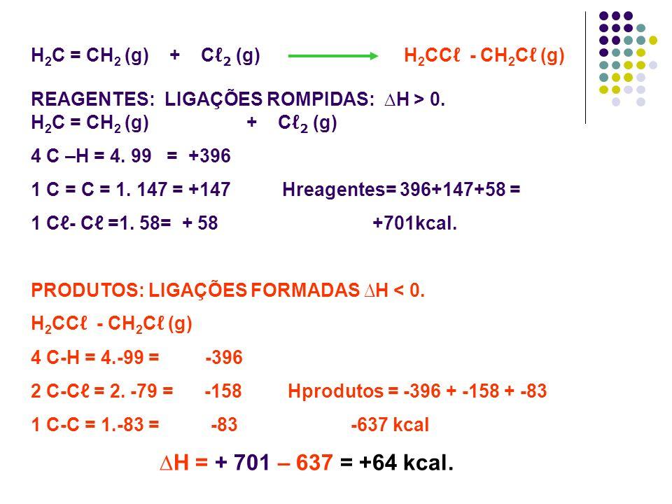 ∆H = + 701 – 637 = +64 kcal. H2C = CH2 (g) + Cℓ2 (g) H2CCℓ - CH2Cℓ (g)