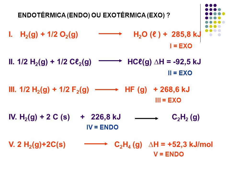 II. 1/2 H2(g) + 1/2 Cℓ2(g) HCℓ(g) ∆H = -92,5 kJ