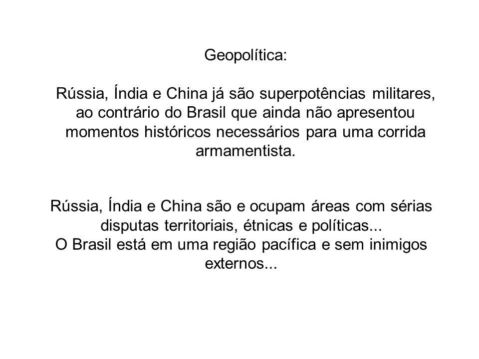 O Brasil está em uma região pacífica e sem inimigos externos...