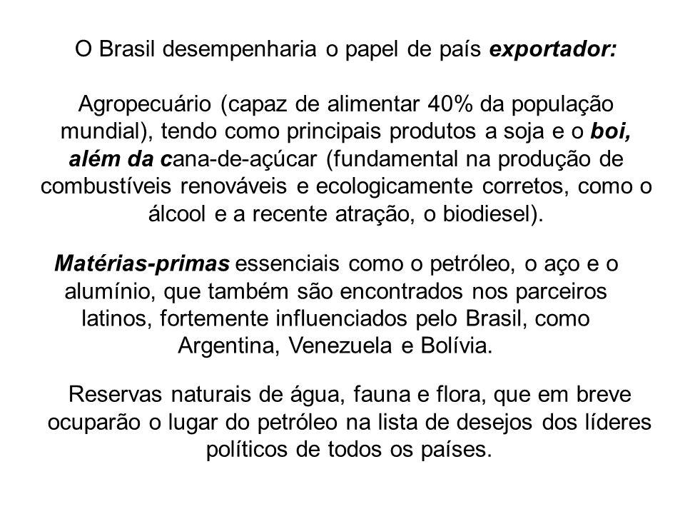 O Brasil desempenharia o papel de país exportador:
