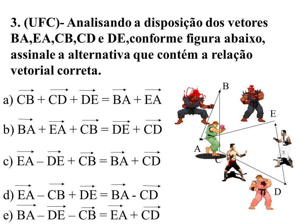 3. (UFC)- Analisando a disposição dos vetores BA,EA,CB,CD e DE,conforme figura abaixo, assinale a alternativa que contém a relação vetorial correta.