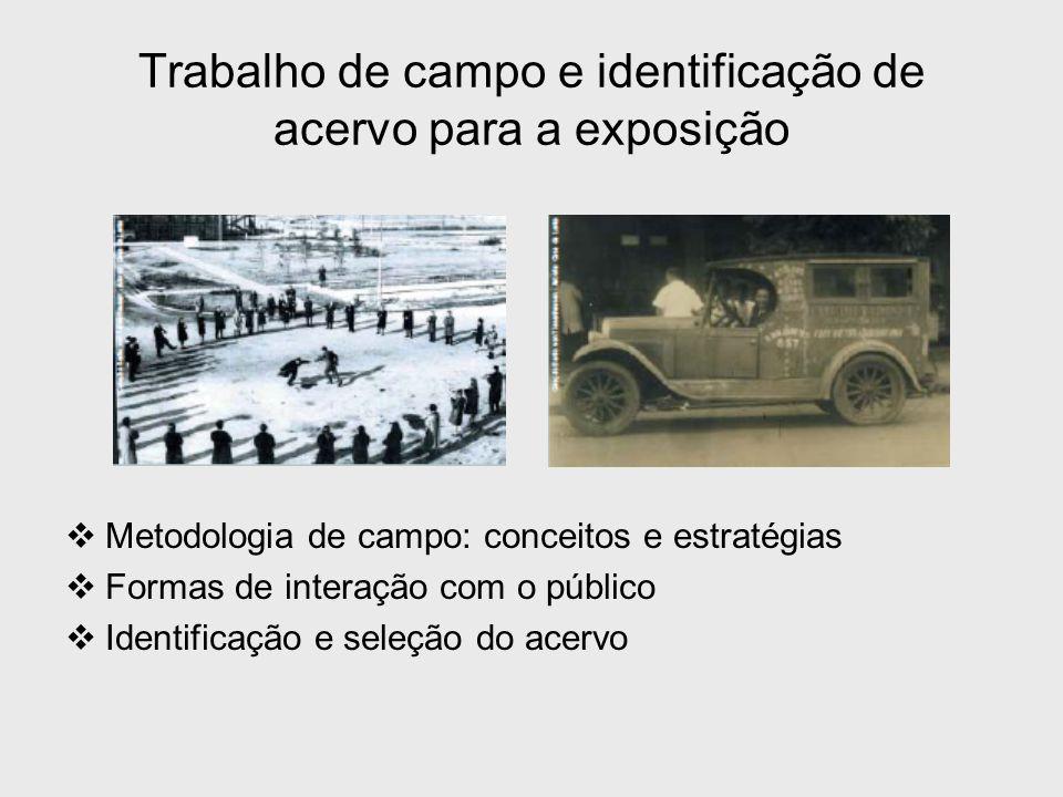 Trabalho de campo e identificação de acervo para a exposição